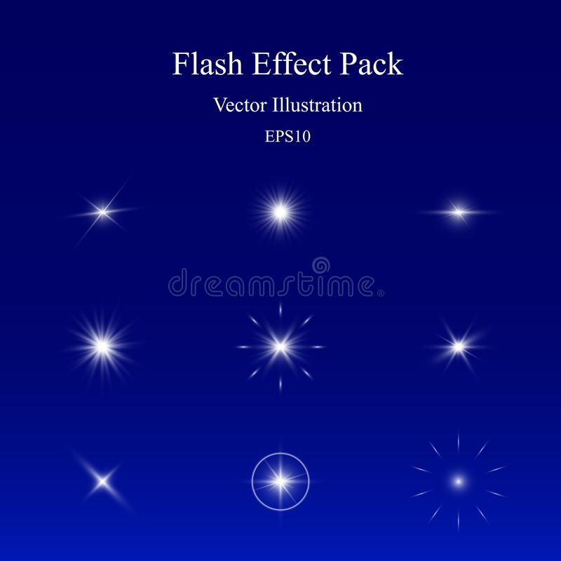 Flash Effect Pack, Light Sparkle, Glowing Camera Lens Flare, Vivid Star Burst royalty free stock image