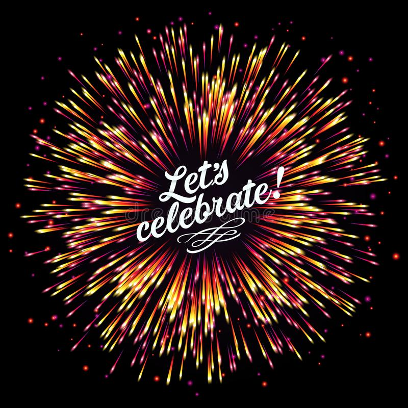 Festive New Year`s salute. A flash of fireworks on a dark background. A bright burst of festive lights. Congratulation. royalty free illustration