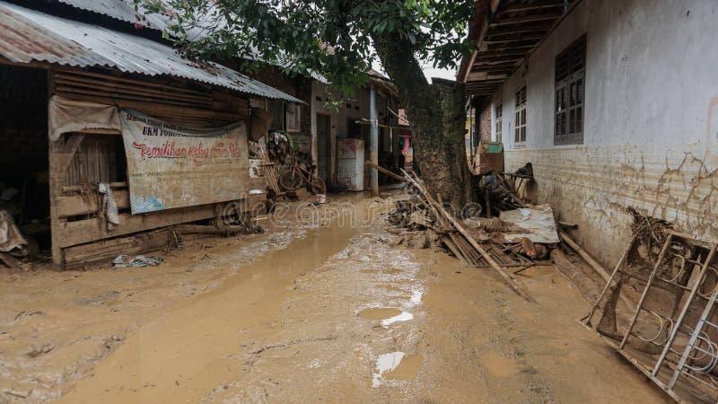 Flash Flooding i Banten, Indonesien arkivfoton