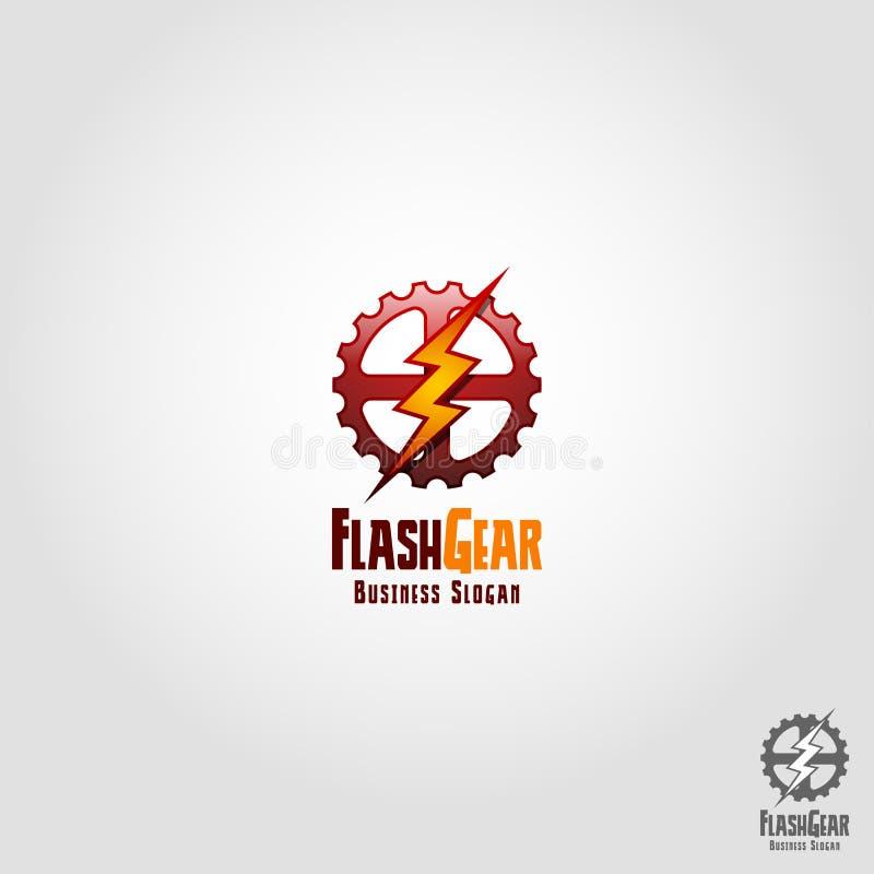 Flash Gear - Auto Speed Service Logo. Template vector illustration
