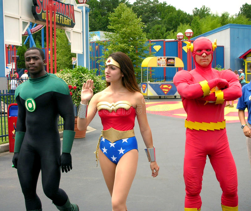 The flash, green lantern and super woman. In front of superman ride in six flags theme park royalty free stock images