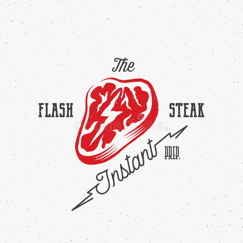 The Flash Instant Steak Abstract Retro Vector Emblem, Label or Logo Template. Meat with a Lightning Concept Illustration royalty free illustration