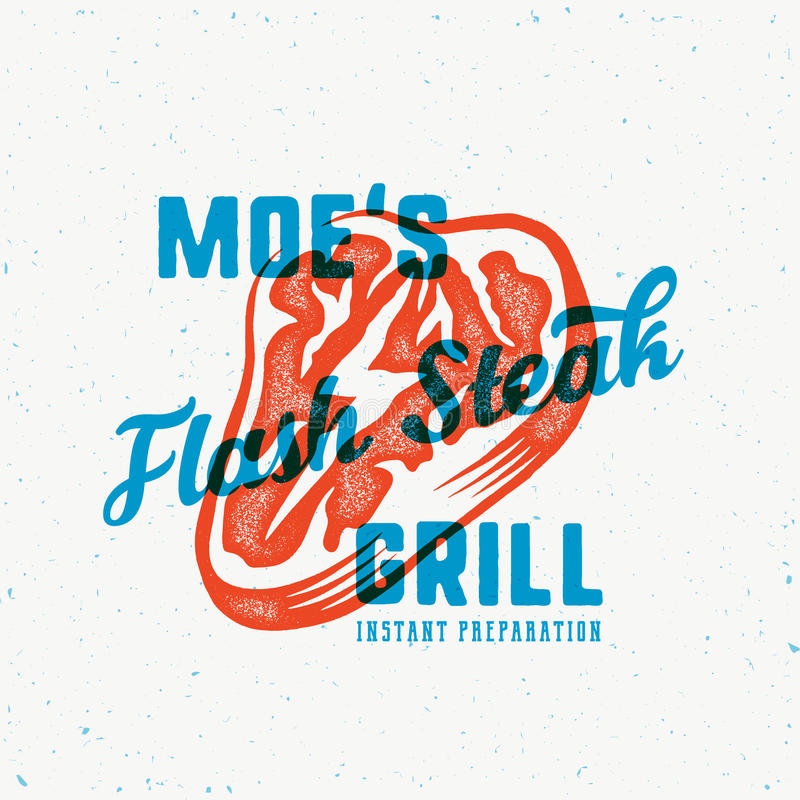The Flash Instant Steak Abstract Vintage Vector Emblem, Label or Logo Template. Meat with a Lightning Concept stock illustration