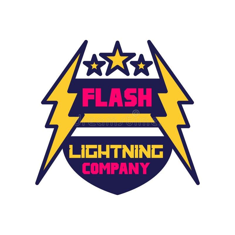 Flash lightning company logo template, badge with lightning symbol, design element for business badge vector royalty free illustration