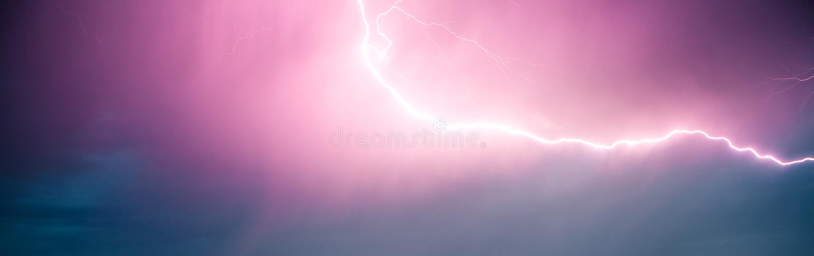 A flash of lightning in a dramatic sky. A natural phenomenon. royalty free stock photos