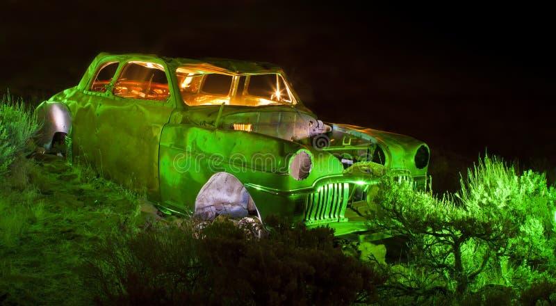 Flash Lit Old Car