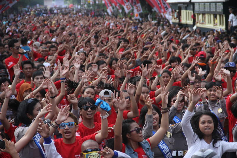 Flash mob. Thousand of people doing flash mob in solo, central java, indonesia stock photos