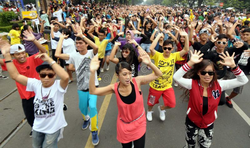Flash mob. Thousand of people doing flash mob in solo, central java, indonesia royalty free stock photos