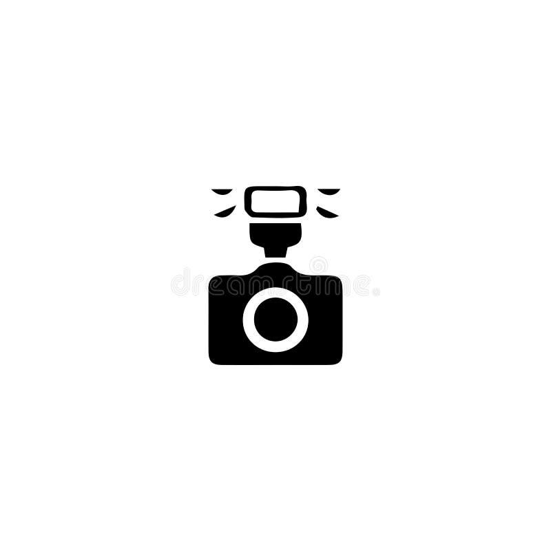 Flash photo camera icon. Digital lens sign. Camera, photo, icon, flash, vector, photography, digital, lens, symbol, technology, equipment, film, black stock illustration