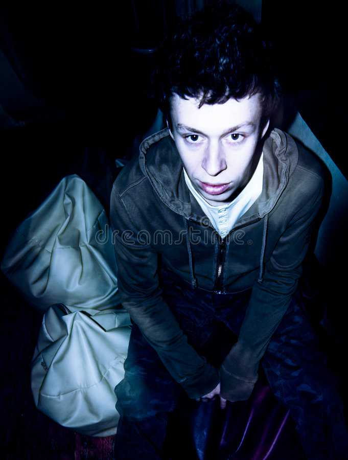 Flash portrait of drunk person royalty free stock image