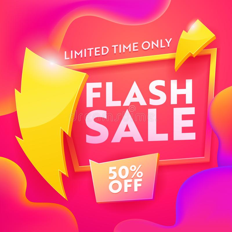 Flash Sale Advertising Modern Banner. Business Ecommerce Discount Promotion Gradient Template. Shopping Coupon vector illustration