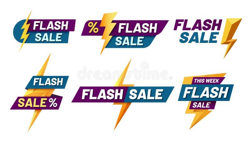 Flash sale badges. Lightning bolt offer, flashes sales badge and trendy shopping offers vector illustration set royalty free illustration