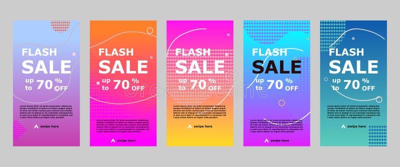 Flash sale banner mobile app and instagram royalty free illustration