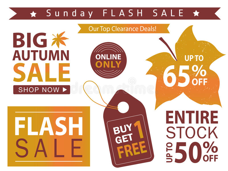 Flash sale banner set. Shop now, buy one get one free, vector. stock illustration