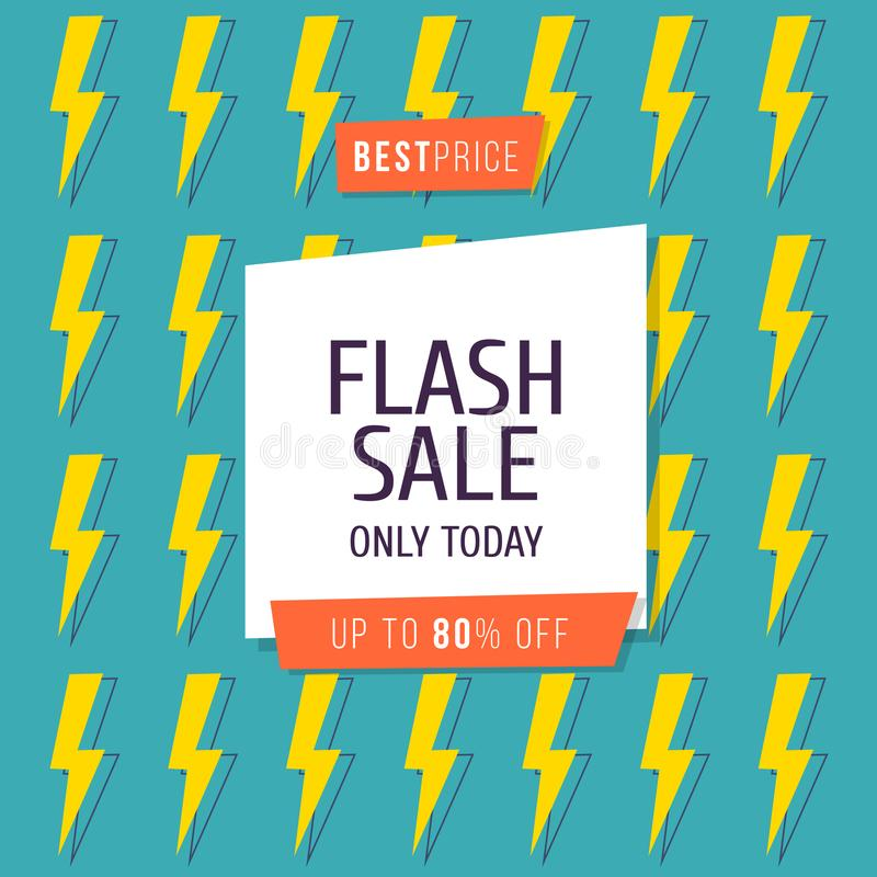 Flash Sale banner template design, Big sale special up to 80 percent off. Vector illustration. stock illustration