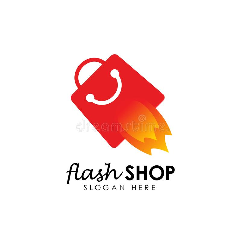 flash sale logo icon design template. flash shop logo design template stock illustration