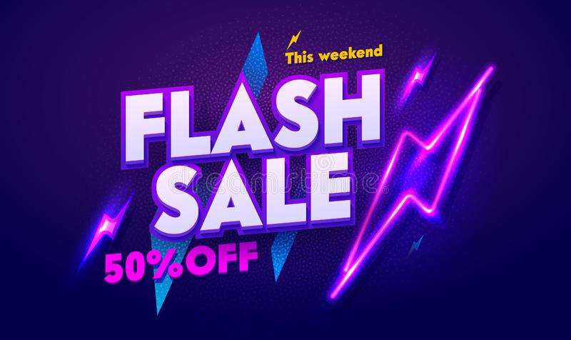 Flash Sale Neon Light Typography Banner. Discount Night Advertising Glow Electric Billboard. 3d Glossy Poster Signboard stock illustration