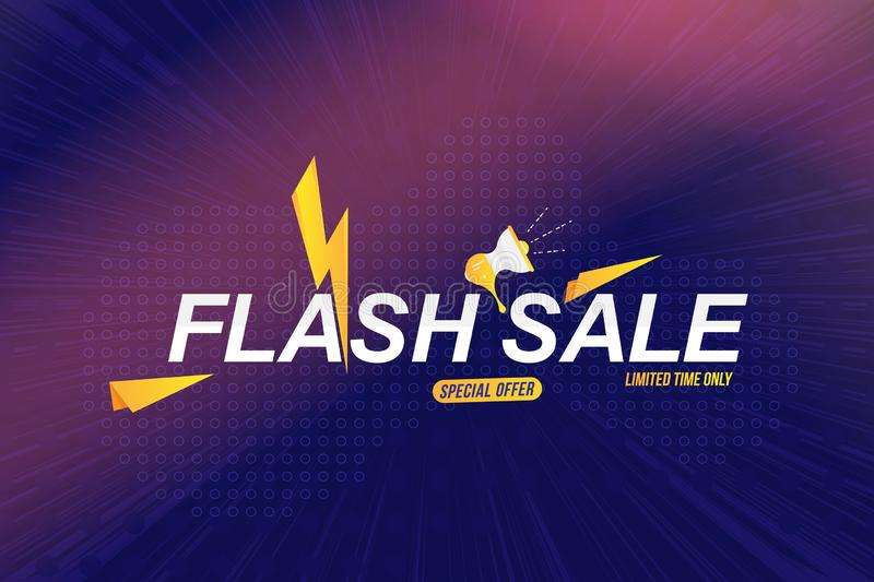 Flash Sale tag on colour liquid background. Font inscription with loudspeaker and light effects on white background. Flat Vector. Illustration EPS10 vector illustration