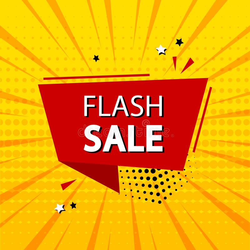 Flash sale. Template banner promotion with ribbon, discount. Comic sound effects in pop art style. Vector. Illustration royalty free illustration