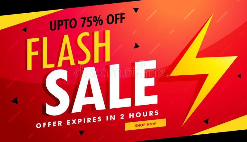 Flash sale vector advertising banner for discount and offers royalty free illustration