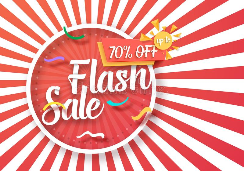 Flash Sale Vector Poster with Sunburs stock illustration