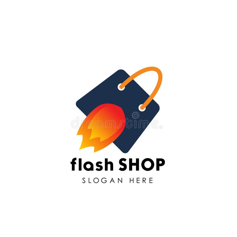 flash shop logo design template. fast sale icon design royalty free illustration