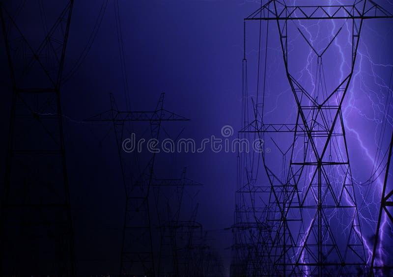 Flash sobre a fiação elétrica fotografia de stock