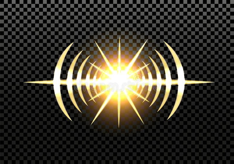 Flash solare, stella, luce dal proiettore, fari dell'automobile Effetto della luce su un fondo trasparente Illustrazione illustrazione di stock