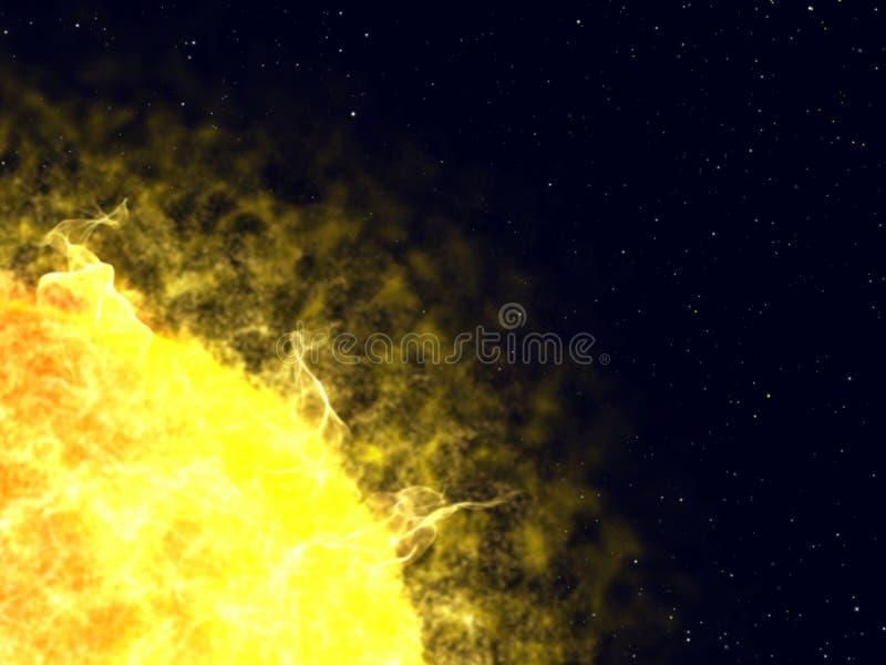 Flash sul sole. illustrazione di stock