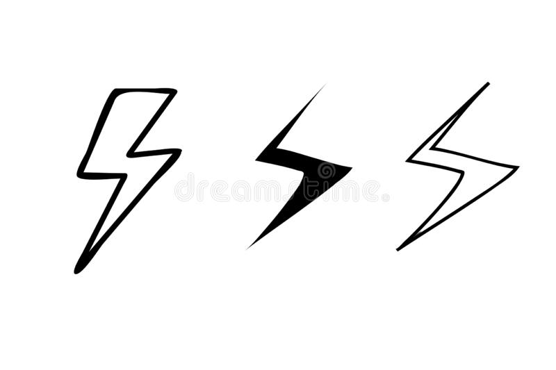 Flash Thunderbolts illustration icon set. Lighting thunder symbol collection. Black, retro, shape, new, style, cartoon, weather, seadon, power, flat, graphic stock images