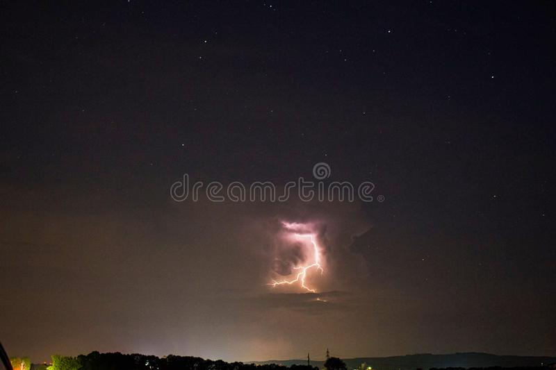 a flash in the thunderstorm royalty free stock image