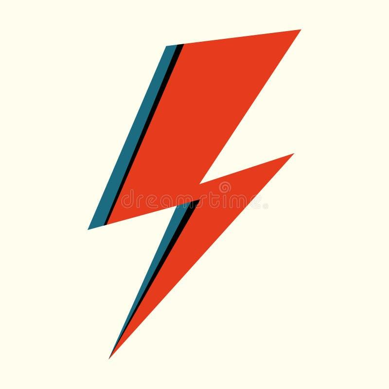 Flash vermelho Ilustração tirada mão do vetor do relâmpago isolado para o logotipo, cartaz, cartão, cópia da roupa, inseto Sinal  ilustração do vetor