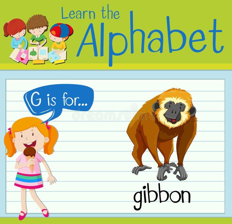 Flashcard信件G是为长臂猿 库存例证