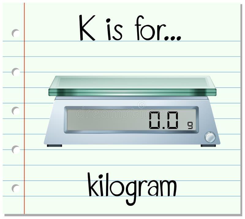 Flashcard信件K是为公斤 库存例证