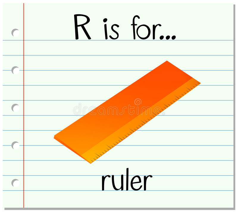 Flashcard信件R是为统治者 库存例证