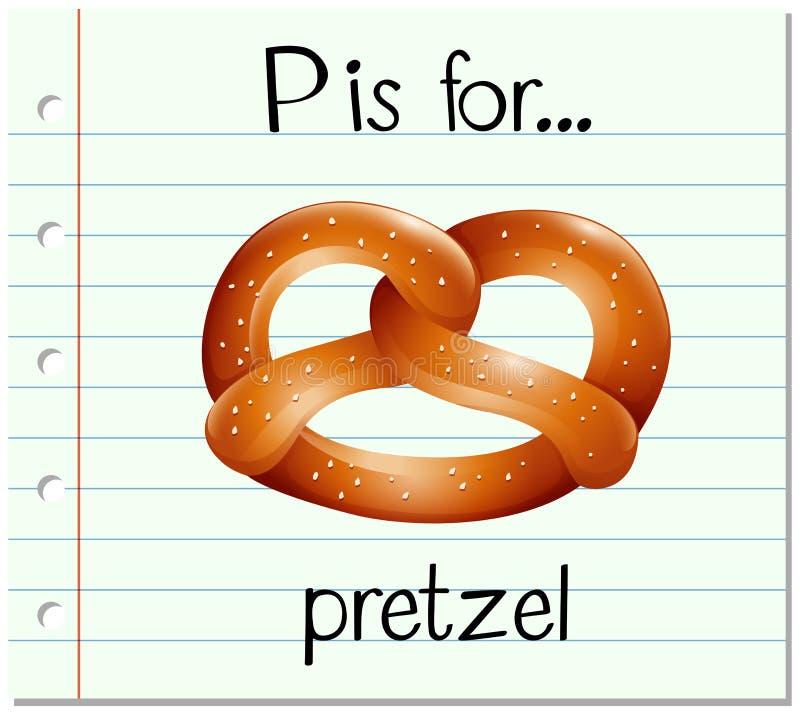 Flashcard字母表P是为椒盐脆饼 皇族释放例证