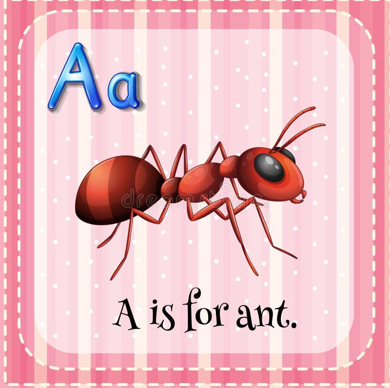 Flashcard A är för myra vektor illustrationer