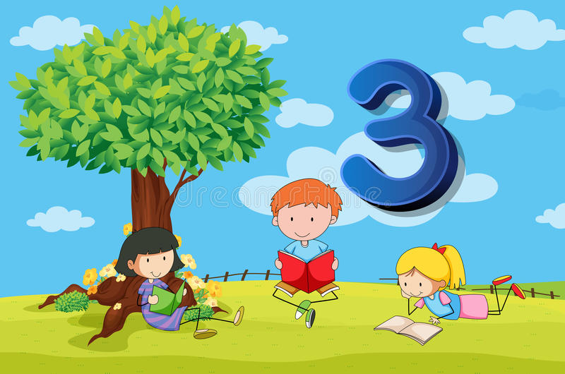 Flashcard αριθμός 3 με τρία παιδιά στο πάρκο διανυσματική απεικόνιση