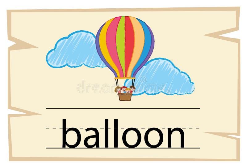 Flashcard для воздушного шара слова иллюстрация вектора