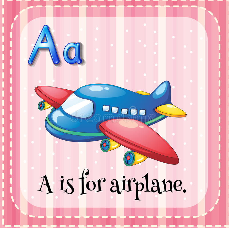 Flashcard alphabet A is for airplane. Illustration stock illustration