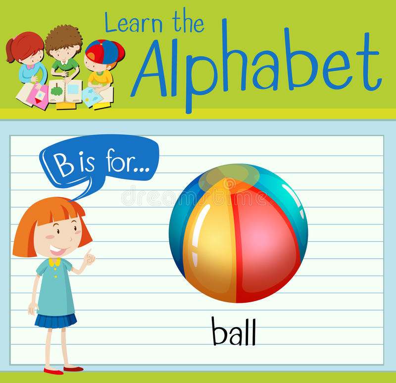 Flashcard alphabet B is for ball. Illustration royalty free illustration