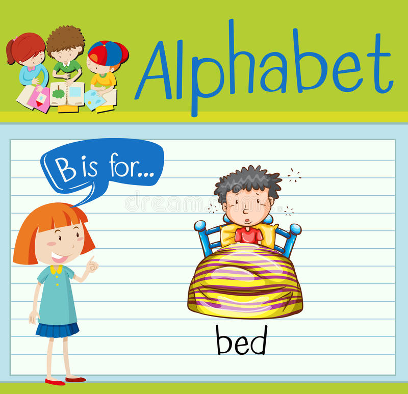 Flashcard alphabet B is for bed. Illustration vector illustration