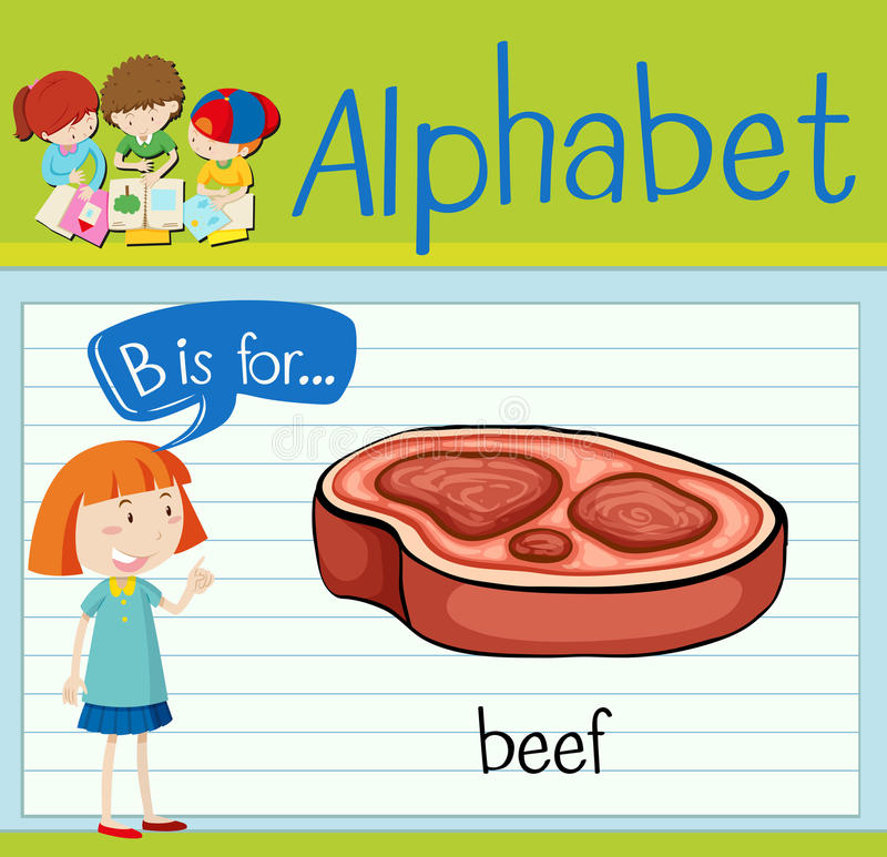 Flashcard alphabet B is for beef. Illustration stock illustration