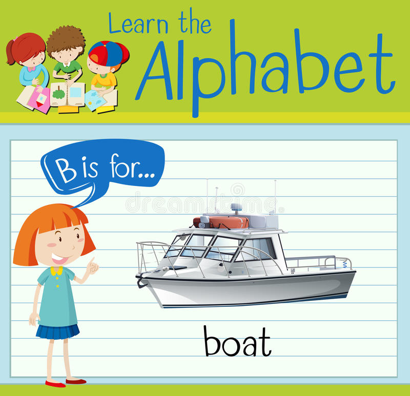 Flashcard alphabet B is for boat. Illustration royalty free illustration
