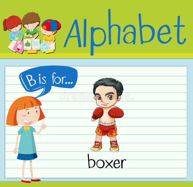 Flashcard alphabet B is for boxer. Illustration vector illustration