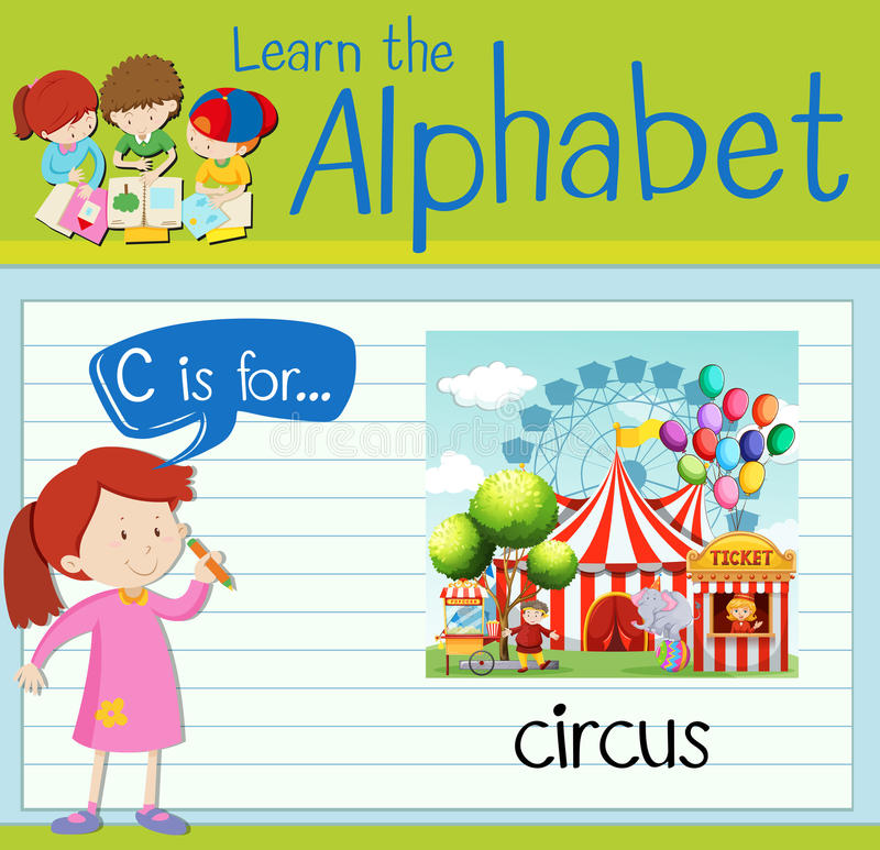 Flashcard alphabet C is for circus. Illustration vector illustration