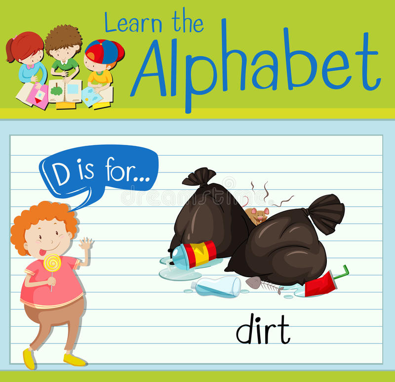 Flashcard alphabet D is for dirt. Illustration royalty free illustration