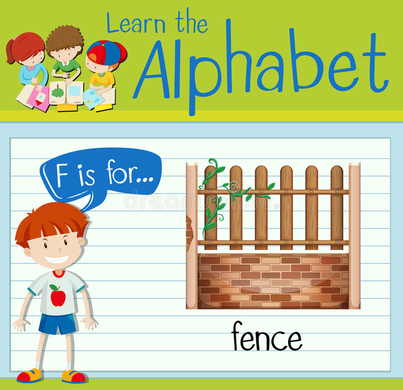 Flashcard alphabet F is for fence. Illustration stock illustration