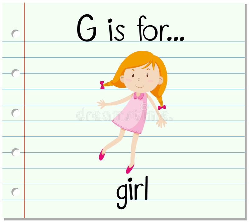 Download Flashcard Alphabet G Is For Girl Stock Vector