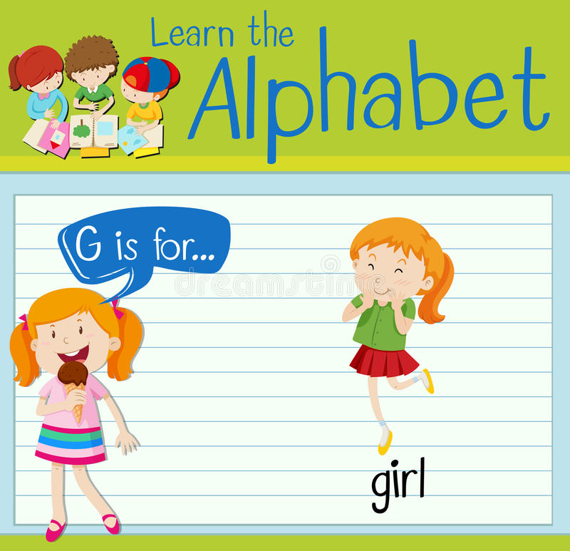 Flashcard alphabet G is for girl. Illustration royalty free illustration